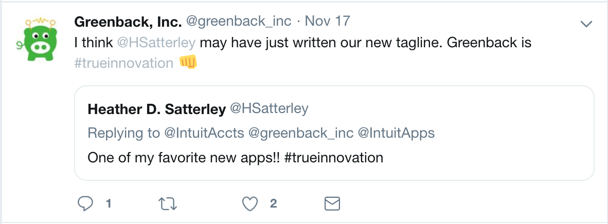 Greenback #TrueInnovation Tweet