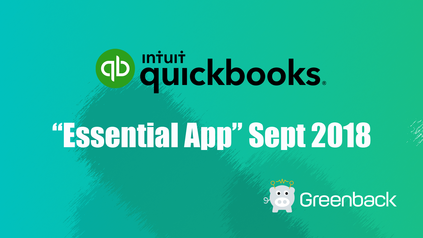Greenback Selected as QuickBooks Essential App—Sept 2018