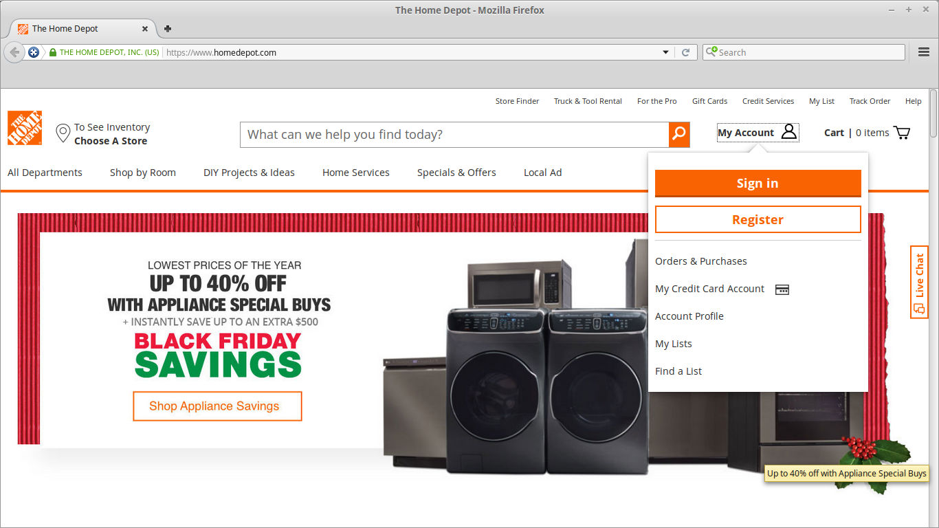 Create Your Regular Home Depot Online Account