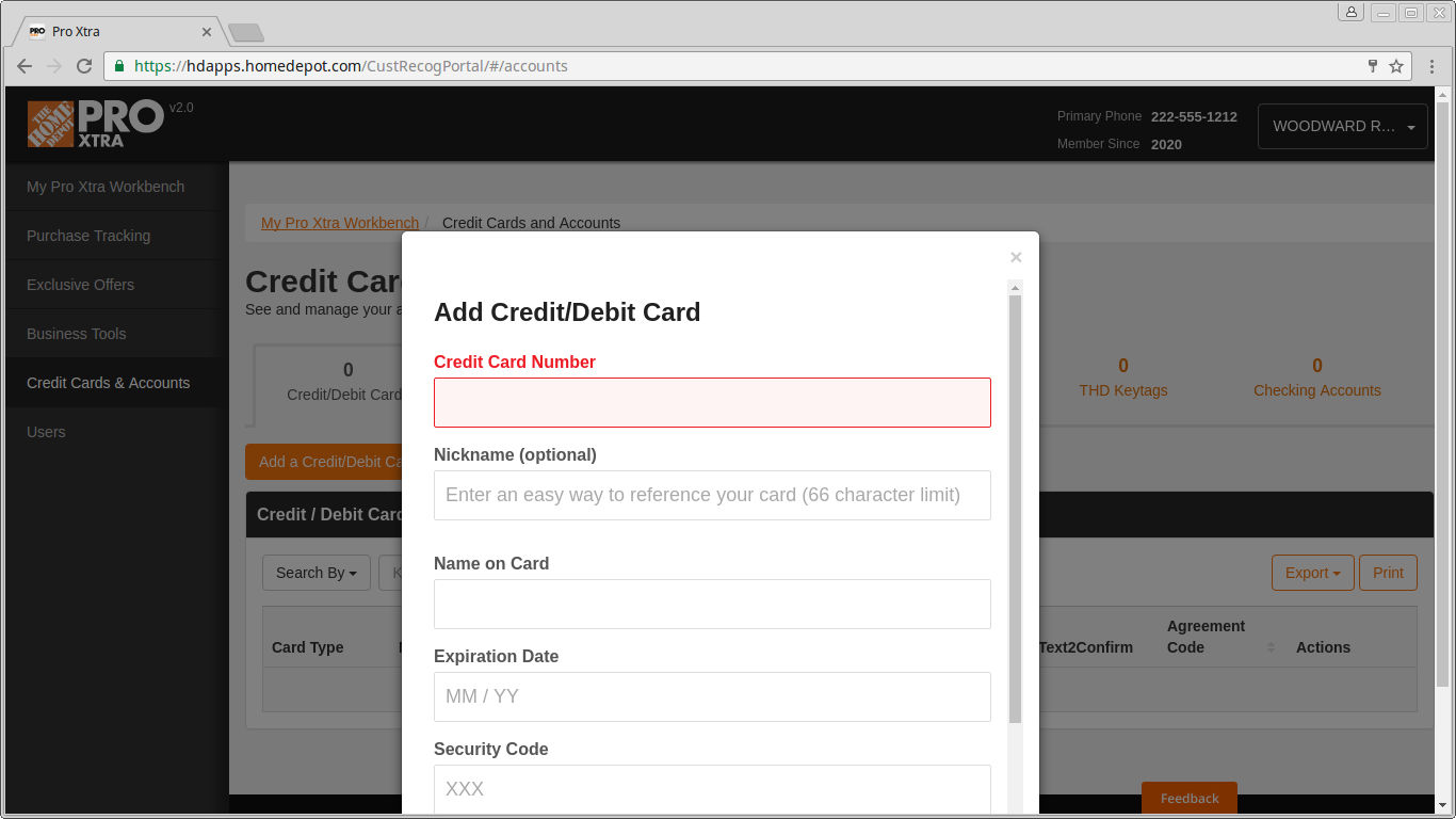 Add your Credit Cards