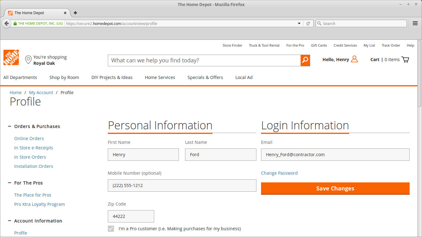Or Link your Home Depot Regular Account with your Pro Account