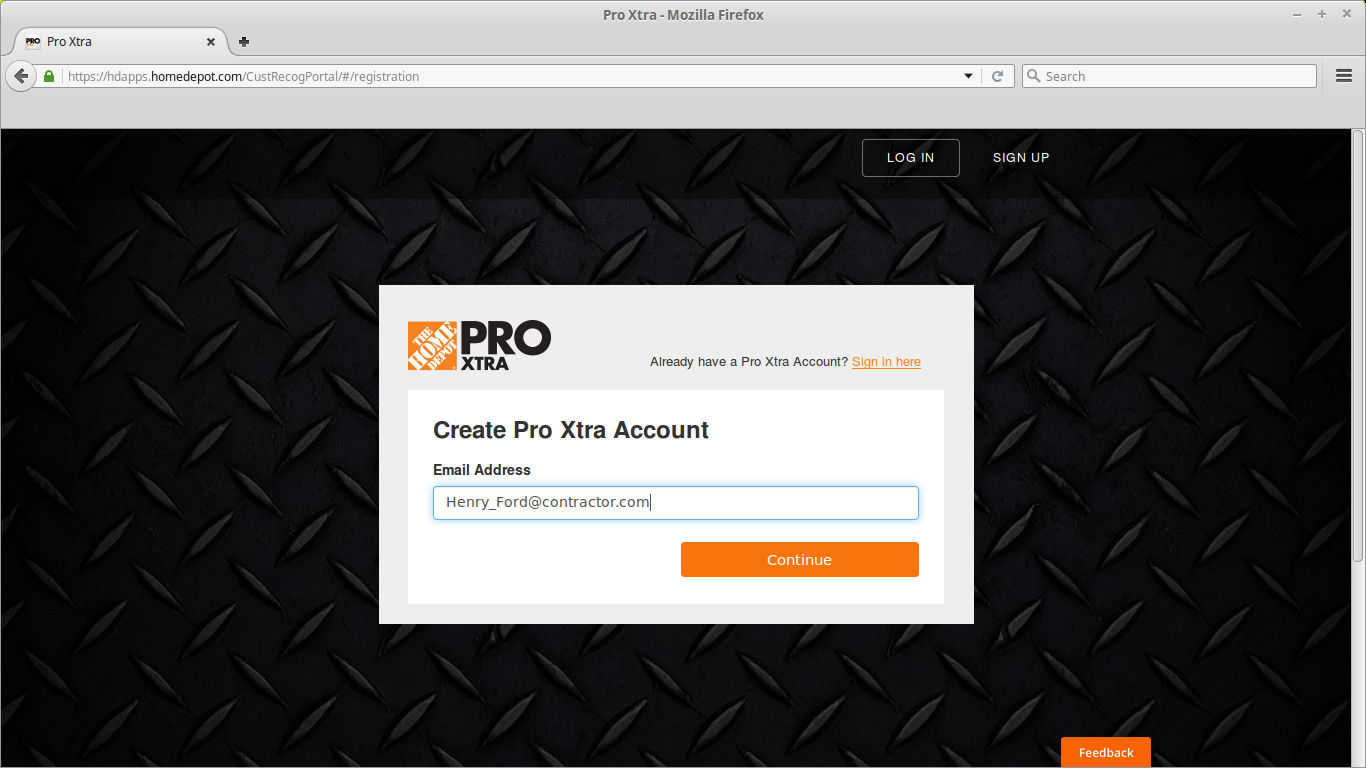 Sign up for a Home Depot Pro Xtra Account