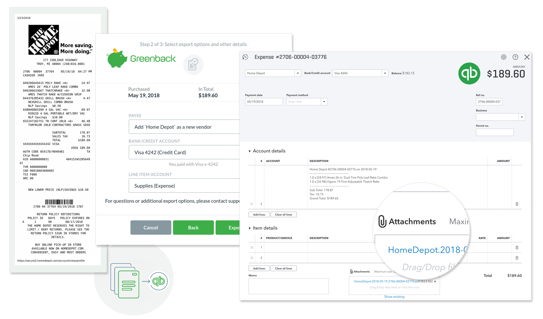 Sync Home Depot Receipts to Accounting Platform